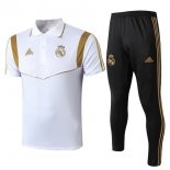 Polo Real Madrid Conjunto Complet 2019-20 Noir Blanc Or